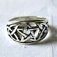 Sterling Silver Pentagram Ring Celtic Style Wicca Witch Goth Pagan Goddess Reiki