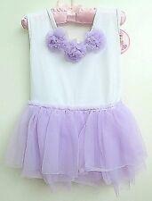 Princess Expressions Toddler Tutu BodySuit Dress, White & Purple Lace, 18-24 M