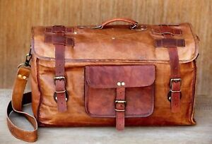 Brown Leather handmade travel luggage vintage overnight weekend duffel Gym Bags