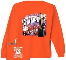 CLEMSON TIGERS NATIONAL CHAMPIONS DOUBLE-XL 2XL LONG-SLEEVE T-SHIRT WITH TROPHY