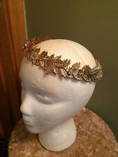 Bebe gold Grecian crown headband headpiece leaves rhinestones festival coachella