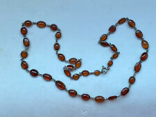 Vintage Tested Sterling Silver Continuous Amber Panel Long Necklace -50cm