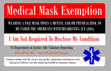 Mask Exemption Card Mask ID Card MADE IN THE USA FULLY CUSTOMIZABLE
