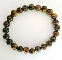 Tigers Eye Crystal Gemstone 8mm Bead Bracelet Reiki Healing Balance Chakra UK
