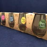 Rae Dunn Easter Stemless Wine Glass Set of 4 2017 Discontinued