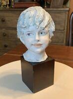 House of Goebel Hand-Painted Porcelain Benacchio Bisque Child Bust Sculpture