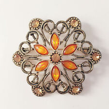Crystal Floral Crystal Brooch Pin Br1207 New Flower Citrine Golden Wedding Party