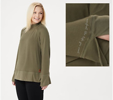 Peace Love World Bree Bell Sleeve Comfy Knit Top-Olive-XL-A351887-NEW