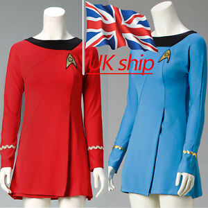 Star Trek Female Duty TOS Blue Uniform TOS Red Dresses Cosplay Costume Adult New
