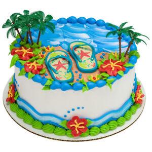 1 Summer Flip Flops Palm Tree Decoset Beach Tiki Luau Cake Topper Decoration