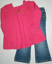 OLD NAVY girls Blue Denim JEANS + CARTERS Pink Long Sleeve TOP Outfit* 3T