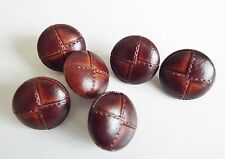 6 DARK TAN  LEATHER LOOK 'FOOTBALL' COAT JACKET KNITWEAR BUTTONS 18mm