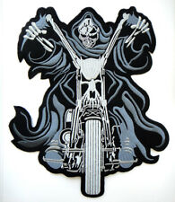 Big Skull Ride Chopper Motorcycle Biker Embroidered Iron on Patch Free Postage
