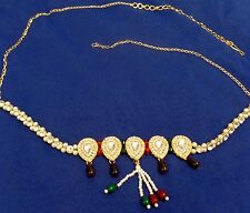 CZ pearl Bridal Gold sari wedding Hip Waist chain Belt Belly Dance Jewelry India