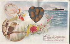 Patriotic postcard showing Kookaburra & ship with wattles inside heart to Hasel