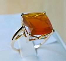 3.83Ct Natural Orange Fire Opal 10K Gold Ring, Size 7, Certificate