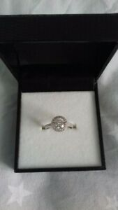New in Box Diamond Flash Sterling Silver ring size P