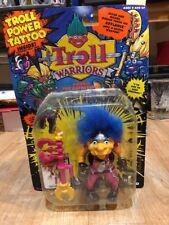 Troll Warriors Gorko The Gatekeeper 1993 Tyco Troll Power Tattoo Blue Pink New