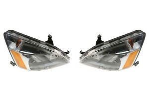 NEW Left & Right Genuine Headlights Headlamps Pair Set For Honda Accord 03-07