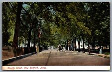 Postcard New Bedford MA c1920s County Street Horse Carriage