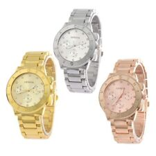 Ladies Womens Crystals Bling Watch ROSE GOLD Geneva Chronograph Designer Style