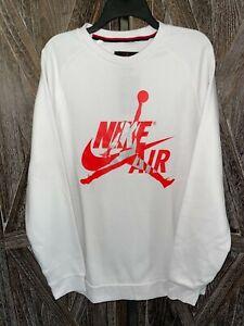 JORDAN NWT Air Jumpman White/Orange/Silver Classic Crewneck Sweatshirt Men sz L
