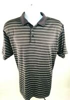 Adidas Men's Climacool Polo Style Short-sleeve Pullover Gray Striped Shirt Sz L