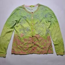 Sigrid Olsen Button Up Floral Knit Cardigan Sweater Women's SMALL Green
