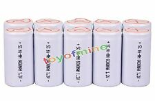 10x Sub C SubC With Tab 6000mAh 1.2V Ni-MH Rechargeable Battery White High Power