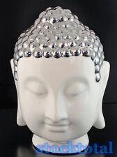 FIGURA BUDA CABEZA buddha figure RESINA PLATEADO BLANCO 18x18x27 cm. 74626  T2