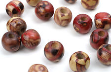 50 ROUND WOOD BEADS ASSORTED PATTERNS 12MM