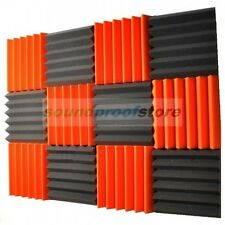 2x12x12 (12 Pack) ORANGE/CHARCOAL Acoustic Wedge Soundproofing Studio Foam Tiles