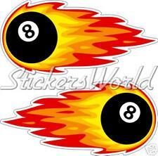 Flaming bola ocho Pool Y Billar 8, pegatinas de vinilo Parachoques calcomanías x2