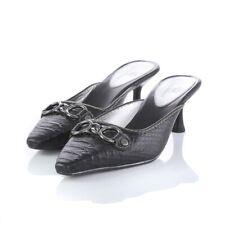 Cole Haan Black Snake Skin Print Mules Kitten Heels Pointed Toe Shoes Womens 7
