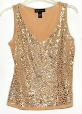 International Concepts INC Beige with Gold Sequins Womens Shell Tank Top Sz PS