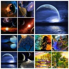 5D Diamond Painting Kits Cross-Stitching Embroidery Landscape Arts Moon Galaxy