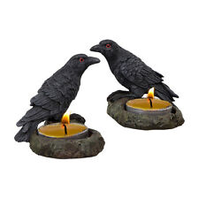 Raven Pair Duo Tealight Candle Holder Figurine Wiccan Pagan Metaphysical