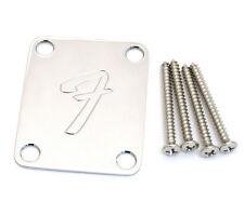 "Fender 70s ""F"" 4-bolt Chrome Neck Plate w/Screws Strat/Tele/Bass 099-1448-100"