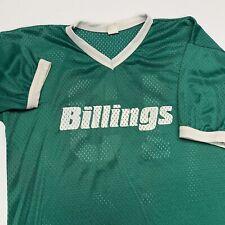 Vintage 90s Billings Jersey Adult M Green Mesh V Neck Gym Montana USA