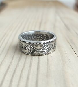 Saudi Arabia Silver Coin Ring - Arabian coin ring - Silver Coin Ring