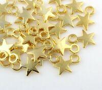 50 Metallanhänger Stern 10mm Gold Halskette Armband Schmuck Anhänger BEST F80
