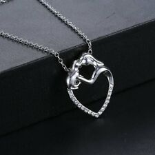 """CAT-LOVERS LOOK......SILVER EP & CRYSTAL """"LOVE MY CAT"""" NECKLACE PENDANT & CHAIN"""