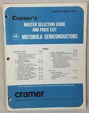 Cramer's Motorola Master Selection Guide & Price List Feb/Mar 1970 114 pp