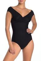 Tahari Off-the-Shoulder One-Piece Swimsuit 9L012H9 Black L Large