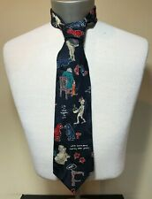 "JOHN LENNON Artwork Silk Tie ""Life Is What Happens To You"" Navy and GC"