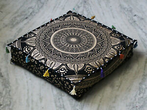 """New 18X4"""" Square Black Gold Floor Decorative Box Cushion Pillow Cover Seat Cover"""