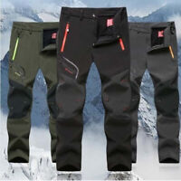 Men Outdoor Sport Hiking Trousers Thick Fleece Lined Climbing Skiing Shell Pants