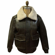 MEN'S BROWN GENUINE BOMBER LEATHER JACKET, REMOVABLE REAL SHEEPSKIN COLLAR, L