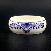 "Vintage Delft Blue D.A.I.C. Hand Painted Oval Open Trinket Dish Floral 2"" x 2.5"""