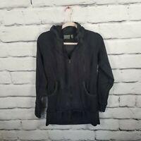 ATHLETA Sz Small Black Full Zip Up Pockets Thumb Holes Hooded Activewear Jacket